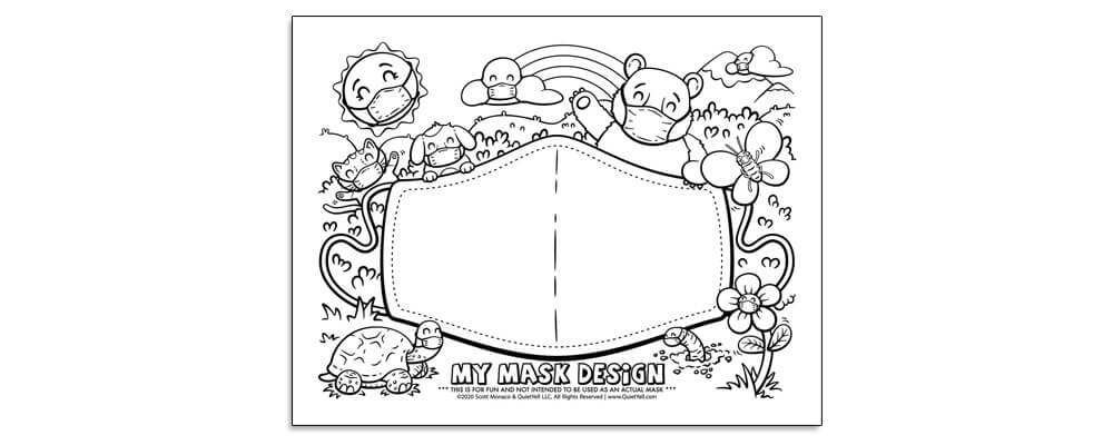 Coloring Activity Sheet to Design Your Own Face Mask For Fun by Scott Monaco of QuietYell LLC | www.QuietYell.com