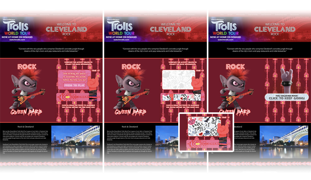 """Trolls World Tour"" Promotional Collect-And-Win CataBoom Games & Web Pages for Southwest Airline's Southwest.fm Site by Scott Monaco of QuietYell™ 