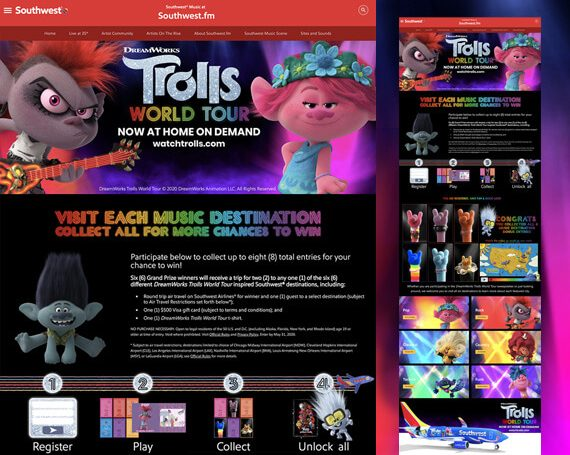 Trolls World Tour / Southwest Airlines Promotional Games