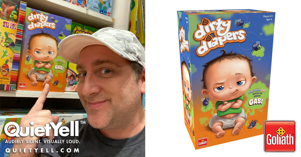 Goliath Games Dirty Diapers Game Packaging Illustration and Logo (Seen at Go! Calendars, Games & Toys) by Scott Monaco of QuietYell™ : www.QuietYell.com | www.GoliathGames.us
