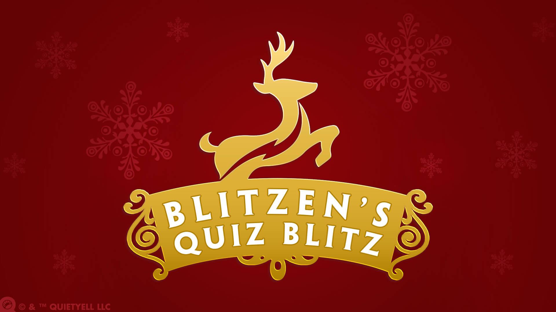 Blitzen's Quiz Blitz Promotional Game Logo by Scott Monaco of QuietYell™ | www.QuietYell.com