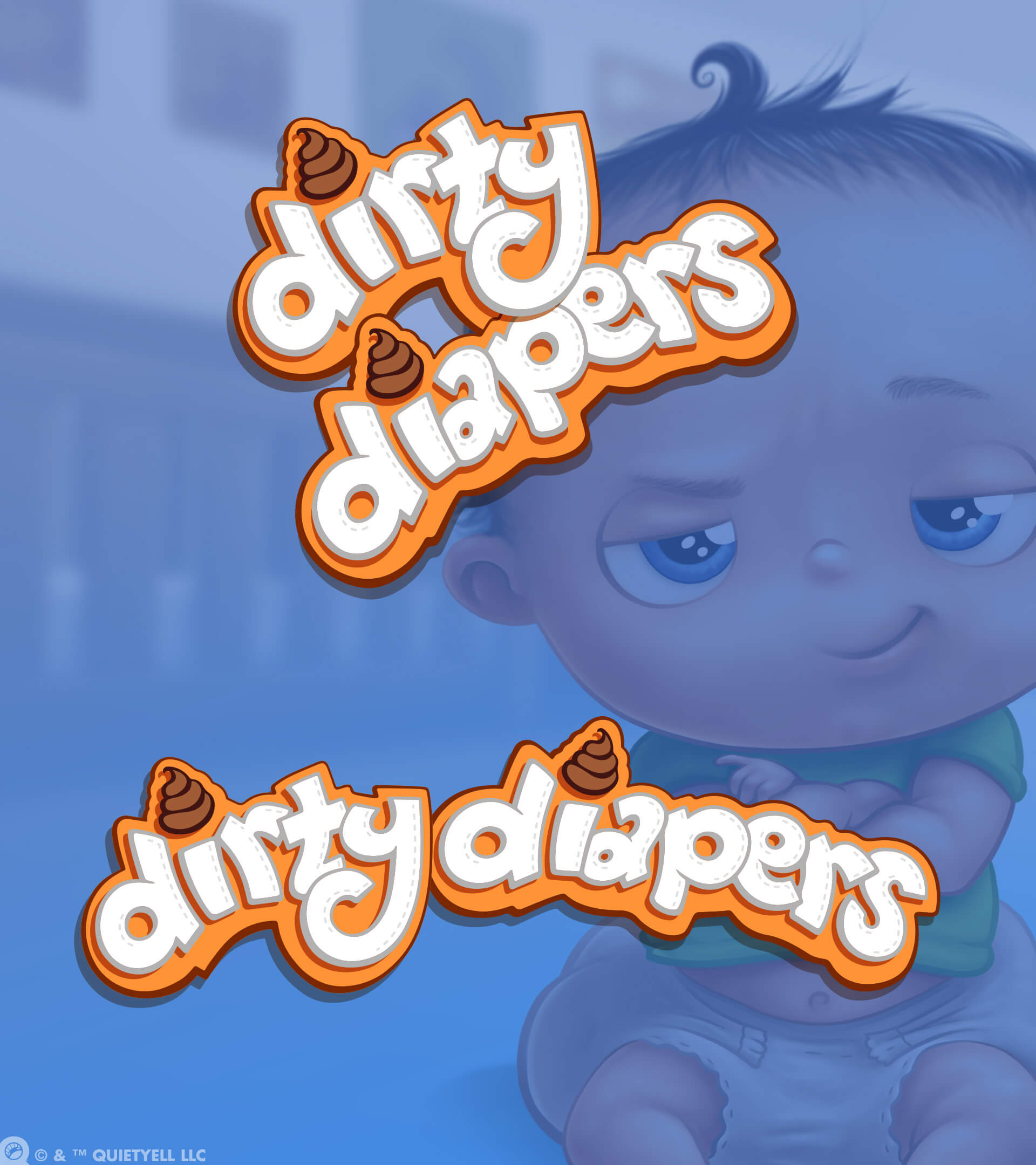 Dirty Diapers Board Game Logo for Goliath Games by Scott Monaco of QuietYell™ | www.QuietYell.com