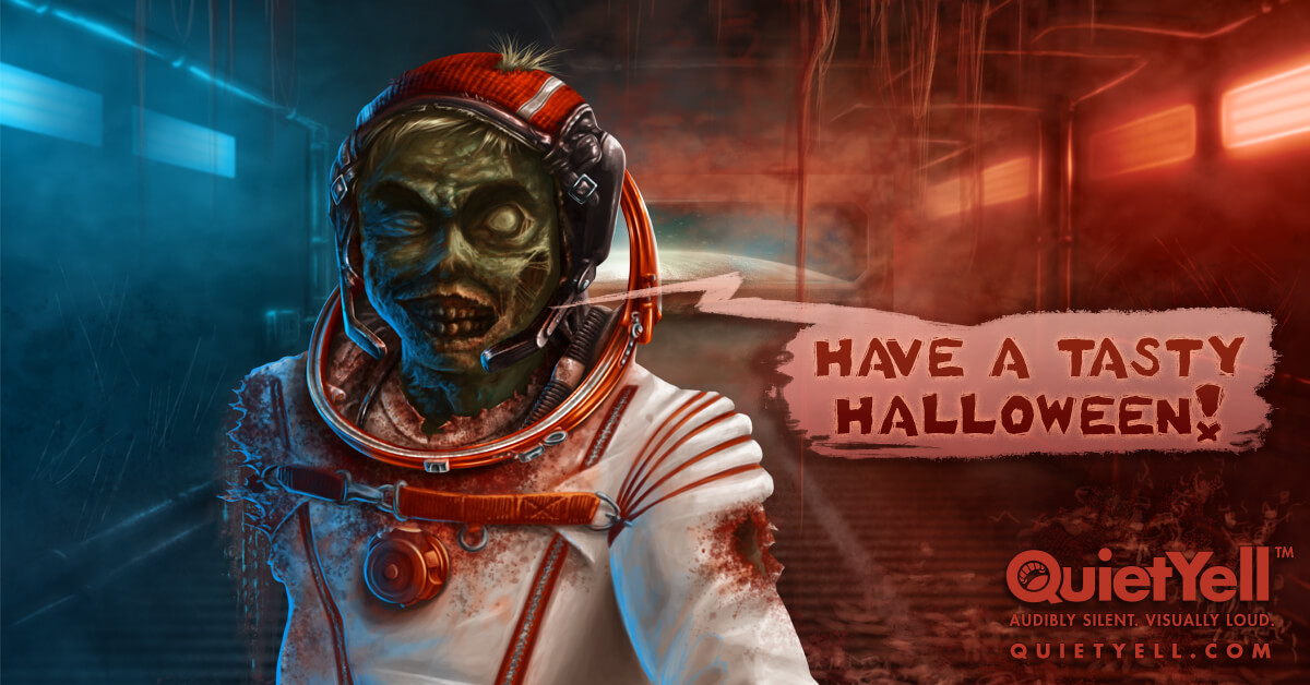 """""""Have a Tasty Halloween!"""" says the cosmonaut fantasy scifi zombie by Scott Monaco of QuietYell™ 